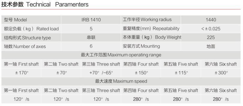 六轴机器人技术参数